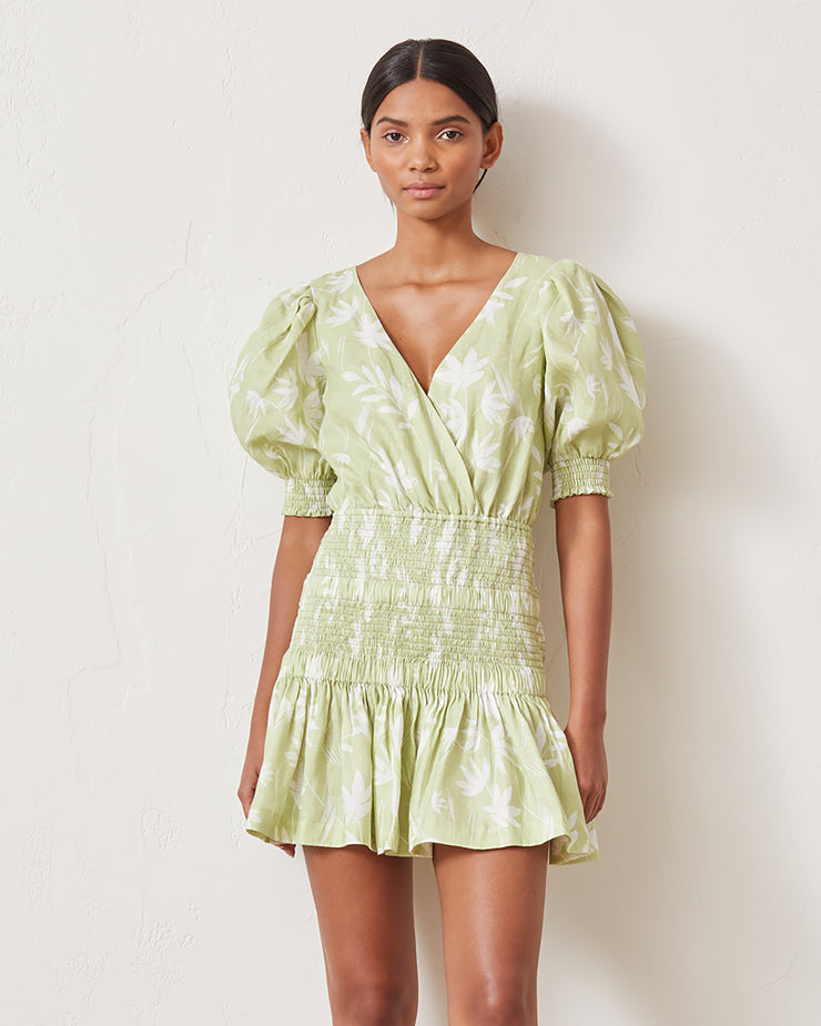 BEC & BRIDGE | BLAIZ | Windswept Green Puff Sleeve Mini Dress