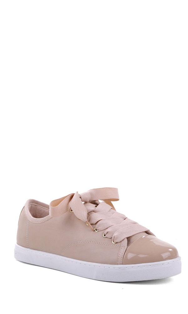 AREZZO | BLAIZ | Pink Patent Toe Suede Ribbon Sneakers Trainers