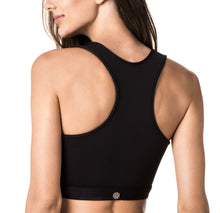 Load image into Gallery viewer, Black & Coral Asymmetric Sports Bra
