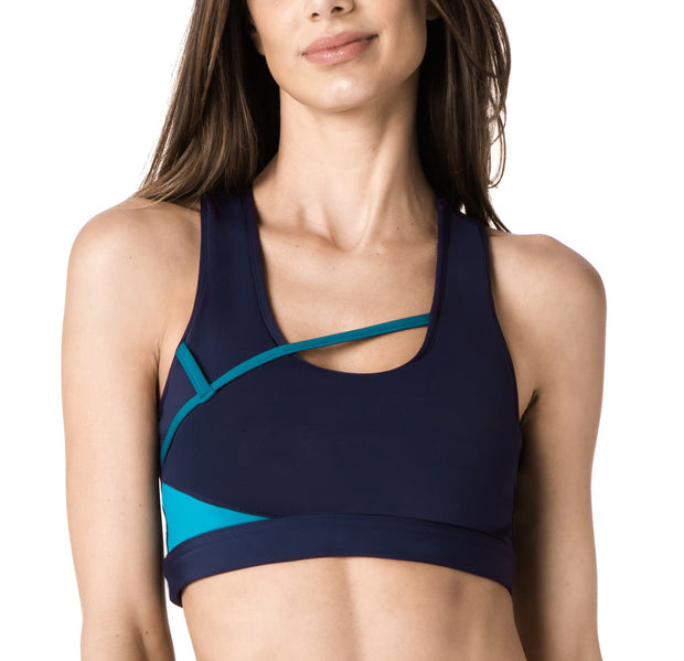 Navy & Petrol Asymmetric Sports Bra