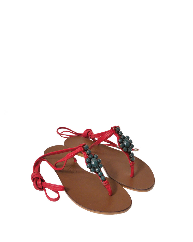 ANAS | BLAIZ | Red & Jade Lace-Up Leather Sandals
