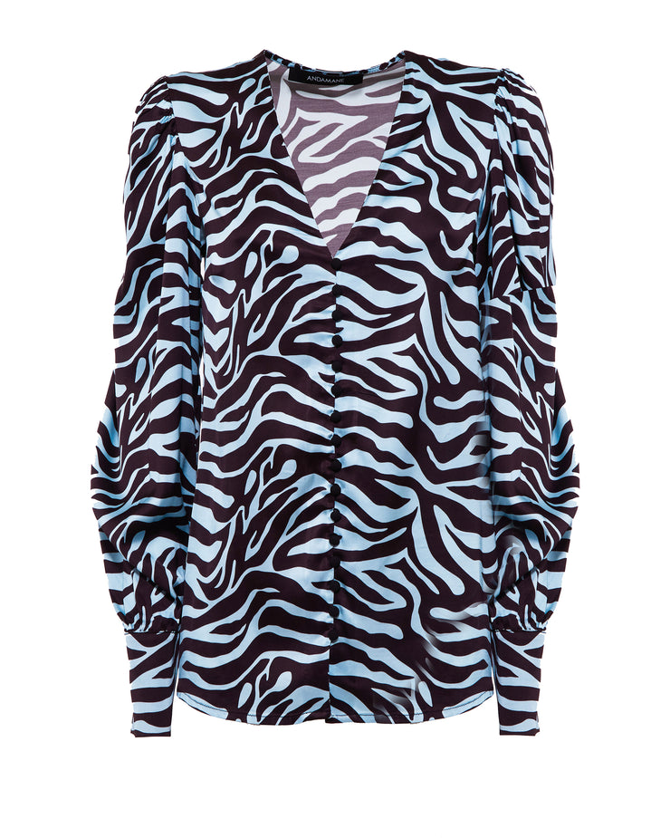 Light Blue Zebra Blouse