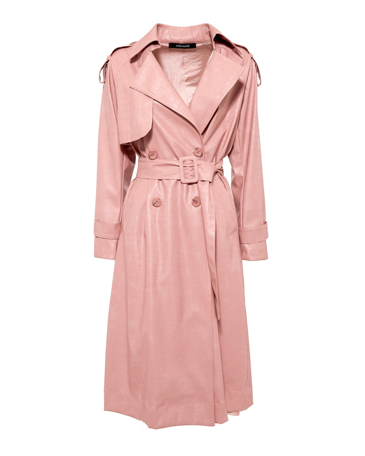 Nude Pink Croc Trench Coat