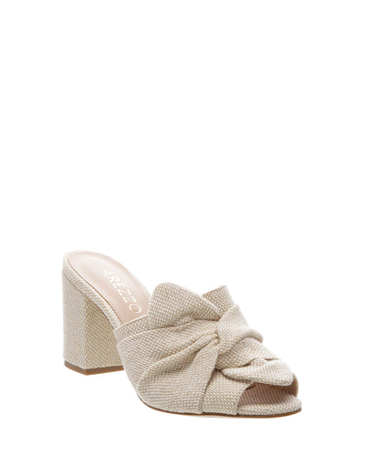 Beige Canvas High Heel Mules