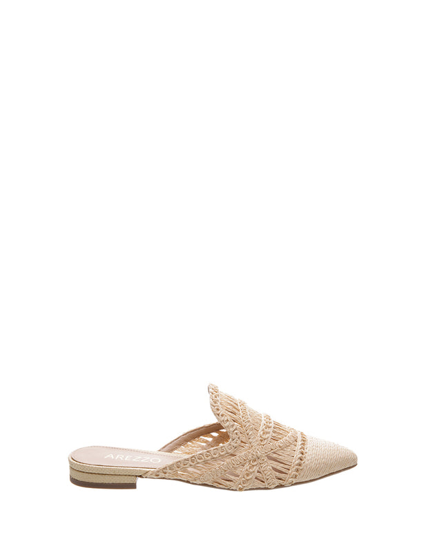 AREZZO | BLAIZ | Natural Woven Pointed Mules Flats Raffia Natural Neutral Cream