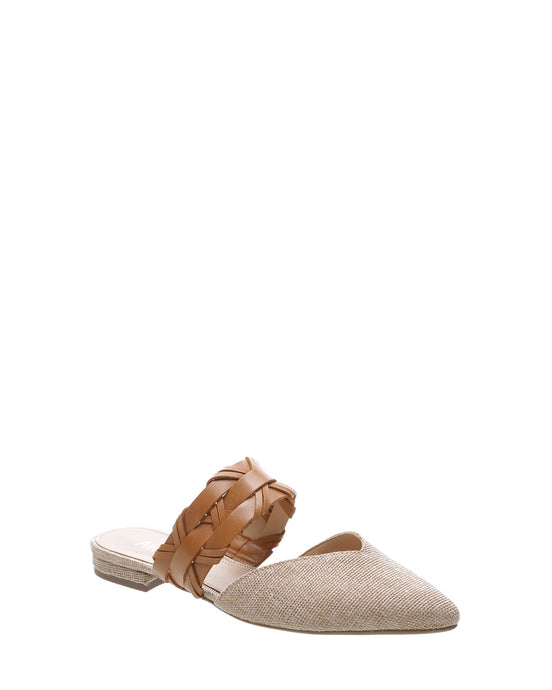 Beige Braided Canvas Mules