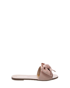 Blush Pink Bow Suede Flats