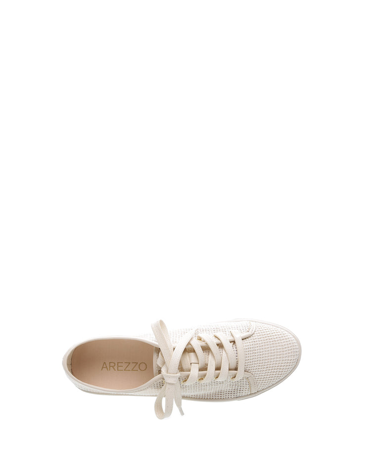 AREZZO | BLAIZ | Cream Mesh Sneakers Trainers Off White Tennis Shoes Flats Autumn