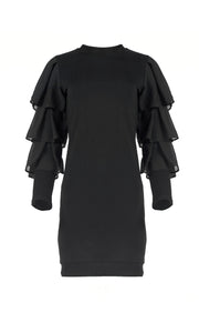 Myna Black Tiered Sleeve Jersey Dress