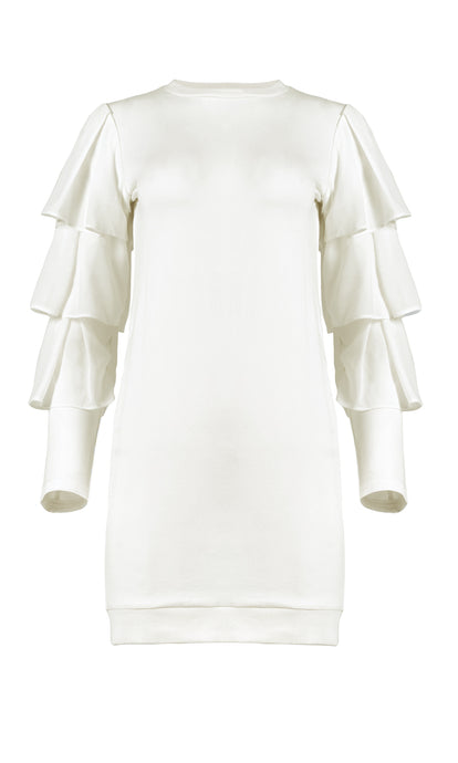 Myna Ivory Tiered Sleeve Jersey Dress