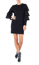 Load image into Gallery viewer, Myna Black Tiered Sleeve Jersey Dress
