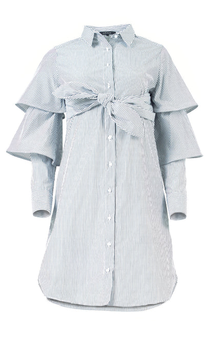 Wing Button Up Tiered Sleeve Shirt Dress