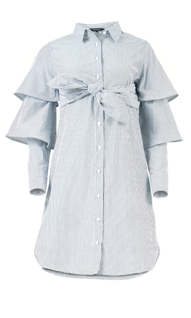 Wing Tiered Sleeve Shirt Dress