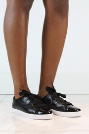 AREZZO | BLAIZ | Black Patent Toe Leather Look Ribbon Sneakers Trainers