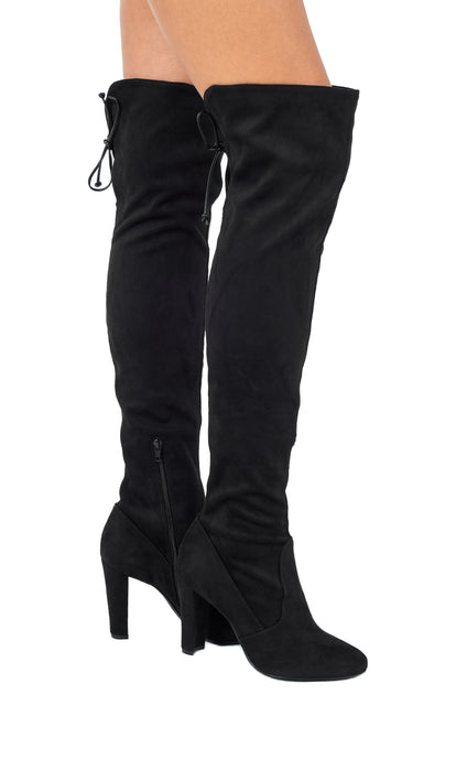 Black Over-the-Knee High Heeled Boots