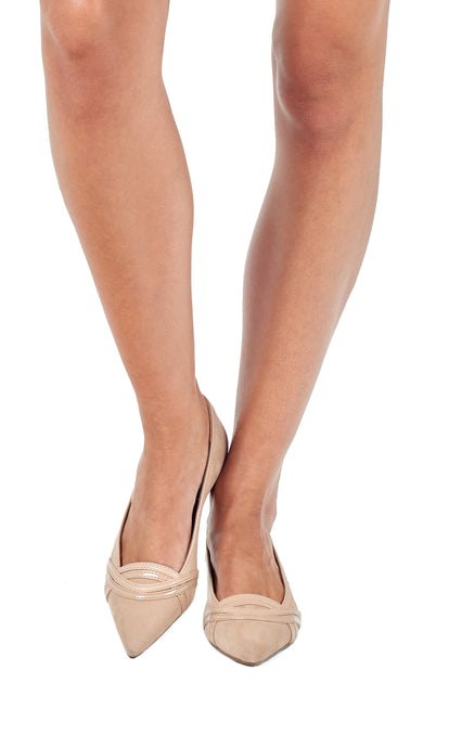 Nude Suede Pointed Flats
