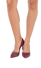 Load image into Gallery viewer, Suede Burgundy Pointed Stilettos