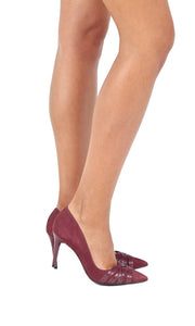 Suede Burgundy Pointed Stilettos