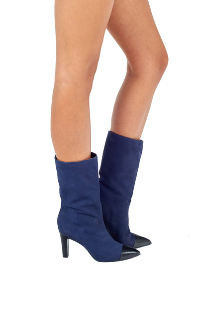 Sea Blue Patent Toe High Heeled Boots