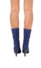 Load image into Gallery viewer, Sea Blue Patent Toe High Heeled Boots