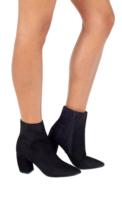 Black Suede Pointed Ankle Boots