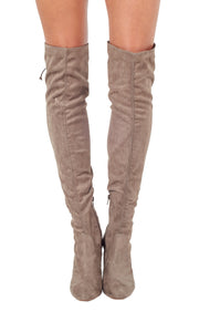 Taupe Over-the-Knee High Heeled Boots