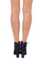 Load image into Gallery viewer, Black Suede High Heeled Ankle Boots