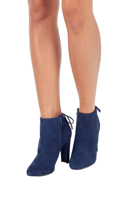 Sea Blue Suede High Heeled Ankle Boots