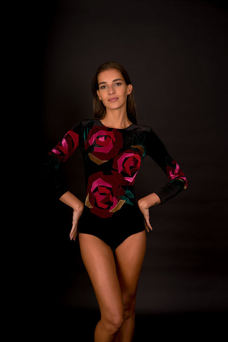 Rose Applique Velvet Bodysuit