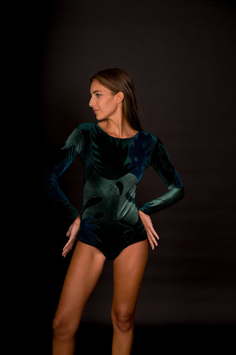 Green Leaves Velvet Bodysuit
