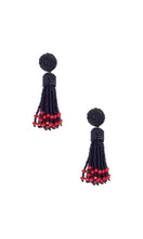 Load image into Gallery viewer, Black & Red Small Tassel Earrings