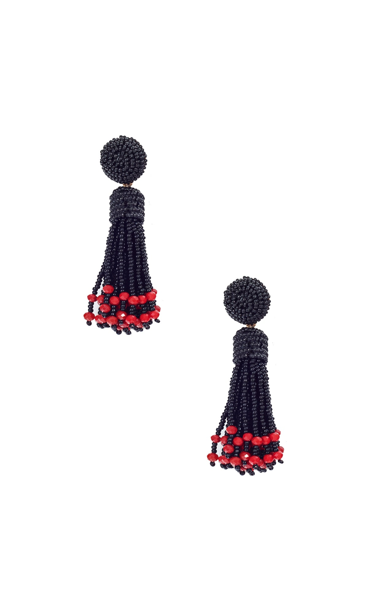 Black & Red Small Tassel Earrings