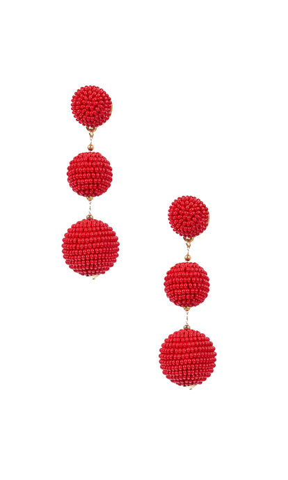 Cherry Red Triple Bobble Earrings