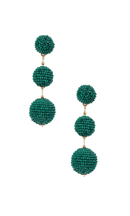Dark Green Triple Bobble Earrings