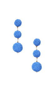 Blue Triple Bobble Earrings