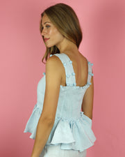 Sky Blue Bellini Peplum Top