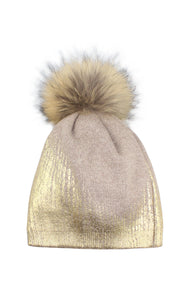 Beige & Gold Metallic Wool Pom Pom Hat