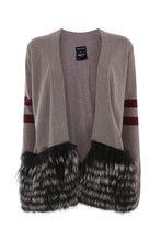 Load image into Gallery viewer, Beige & Burgundy Striped Cardigan