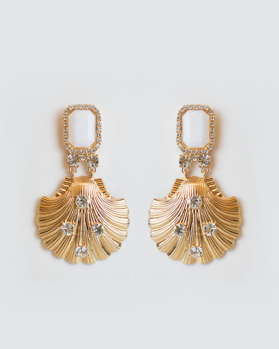 Embellished Gold Shell Earrings