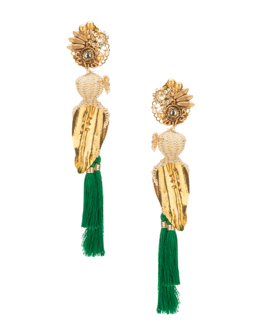 Green Raffia Parakeet Earrings
