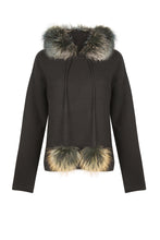 Load image into Gallery viewer, Black Pom Pom Hoodie