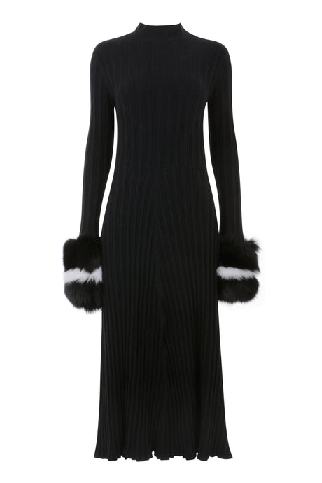 Midi Black Dress with Fur Cuff