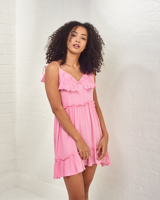 Pink Mini Dress with Floral Embroideries