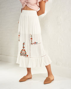 White Embroidered Maxi Skirt