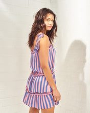 Load image into Gallery viewer, Purple & Coral Striped Mini Dress