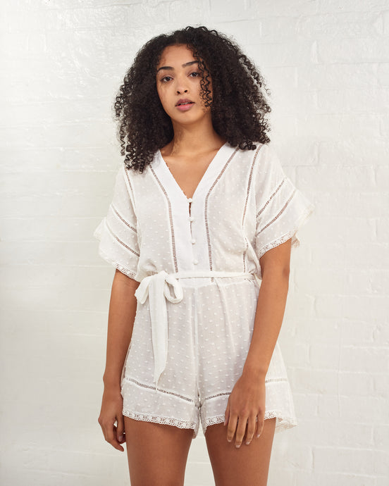 White Lace Trim Romper