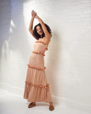 Peach Striped Maxi Dress