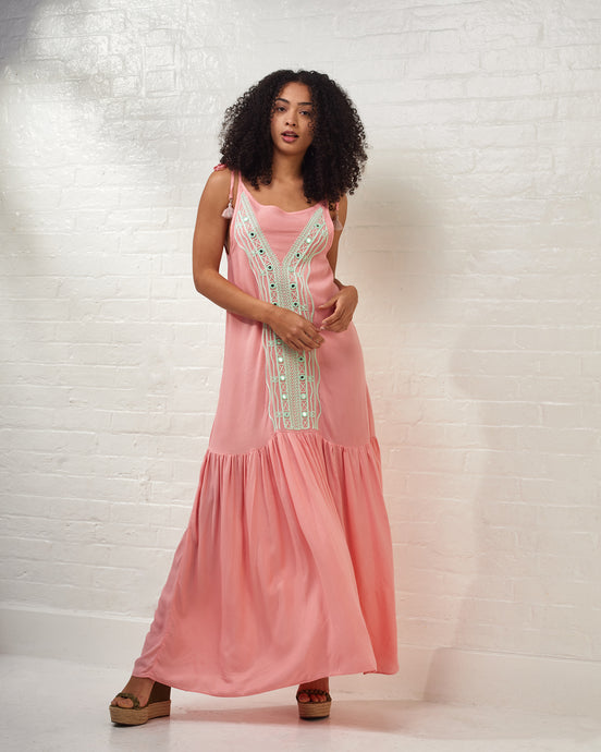 Pink Maxi Dress with Mint Embroideries