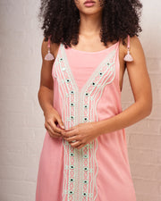 Pink Embroidered Maxi Dress