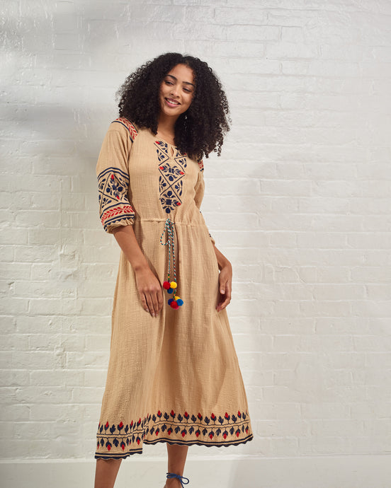 Beige Maxi Dress with Red & Blue Embroidery